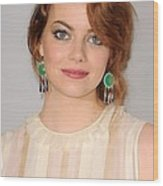 Emma Stone Wearing Irene Neuwirth Wood Print by Everett