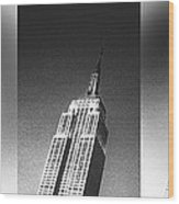 Empire State Black And White Wood Print