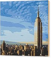 Empire State Building Color 16 Wood Print
