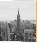 Empire State Building In Black And White Wood Print