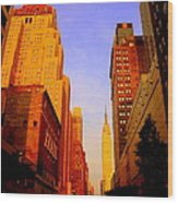 Empire State Building Sunset Wood Print