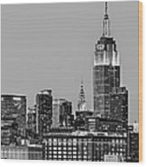 Empire State Bw Wood Print