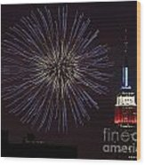 Empire State Fireworks Wood Print by Susan Candelario