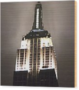 Empire State In The Fog Wood Print