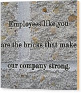 Employee Service Anniversary Thank You Card - Cement Wall Wood Print