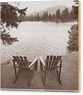 Empty Chairs On Waterfront Wood Print