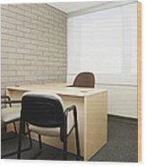 Empty Desk In An Office Wood Print