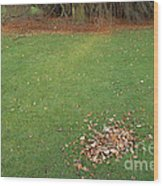 Empty Lawn With A Little Heap Of Leaves Scraped Together Wood Print