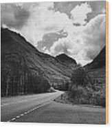 Empty Main Road Through Glencoe Highland Scotland Uk Wood Print by Joe Fox