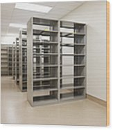 Empty Metal Shelves Wood Print
