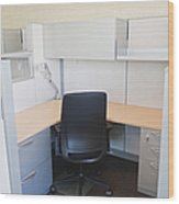 Empty Office Cubicle Wood Print