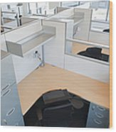 Empty Office Cubicles Wood Print by Jetta Productions, Inc