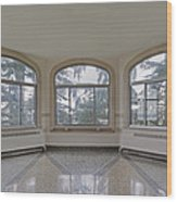 Empty Room In Turret With Windows Wood Print