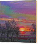 Enameled Sunrise Of Northern California Wood Print