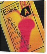 Energy Efficiency Rating Label Wood Print by Sheila Terry