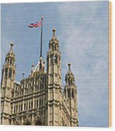 England, London, Union Flag Flown On Houses Of Parliament, Low Angle Wood Print