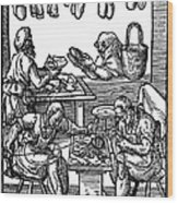 Engraving Of Cobblers Making Leather Shoes. Wood Print