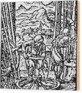 Engraving Of Wheel Manufacture In The 16th Century Wood Print
