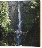 Enjoying Multnomah Falls Wood Print