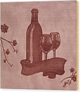 Enjoying Red Wine  Painting With Red Wine Wood Print