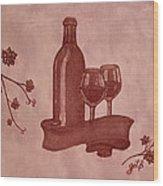 Enjoying Red Wine  Painting With Red Wine Wood Print by Georgeta  Blanaru