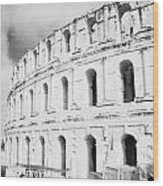 Entrance And Front Of The The Old Roman Colloseum Against Blue Cloudy Sky El Jem Tunisia Wood Print by Joe Fox