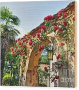 Entrance Arch With Flowers Wood Print