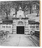 entrance bridge and ornate tunnel to Glasgow necropolis cemetery Scotland UK Wood Print