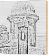 Entrance To Sentry Tower Castillo San Felipe Del Morro Fortress San Juan Puerto Rico Bw Line Art Wood Print