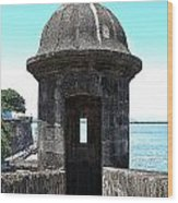 Entrance To Sentry Tower Castillo San Felipe Del Morro Fortress San Juan Puerto Rico Poster Edges Wood Print by Shawn O'Brien