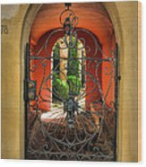 Entrance To Stucco Home Wood Print by Steven Ainsworth