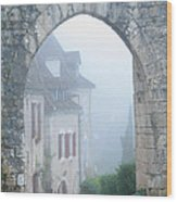 Entryway To St Cirq In The Fog Wood Print