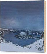 Enveloping Storm At Crater Lake Wood Print