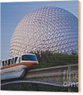 Epcot And Monorail Wood Print
