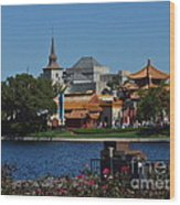 Epcot China And Norway Wood Print