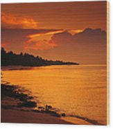 Epic Sunset In The Tropical Maldivian Island Wood Print