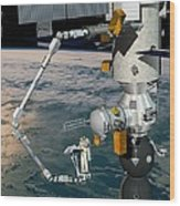 Era Robotic Arm Of The Iss, Artwork Wood Print