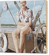 Errol Flynn Relaxing On His Yacht, Ca Wood Print