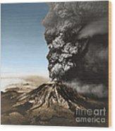 Eruption Of Mount St. Helens Wood Print