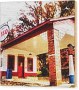 Esso Filling Station Wood Print