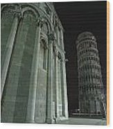 Ethereal Moonlight Scene Of Duomo Santa Wood Print by Carson Ganci