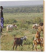 Ethiopia-south Tribal Goat Herder Wood Print