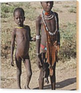 Ethiopia-south Tribesman Boy And Sister No.1 Wood Print