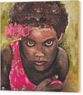 Etiopien Girl Wood Print