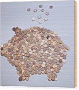 Euro Coins Falling Into A Piggy Bank Made From Arranged European Coins Wood Print by Larry Washburn
