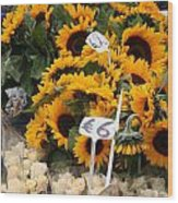 European Markets - Sunflowers And Roses Wood Print
