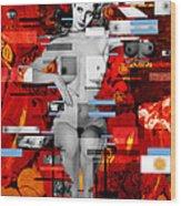 Eva Peron Nude En Rouge Wood Print