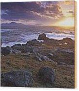 Evening At Breasty Bay Near Malin Head Wood Print