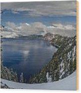 Evening At Crater Lake Panorama Wood Print