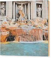 Evening At Trevi Fountain Wood Print